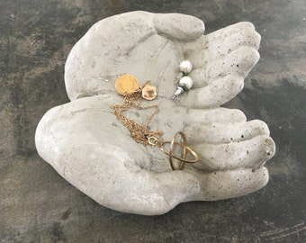 Small Concrete Hand Dish - Entry Tray - Decorative Object - Jewelry Holder