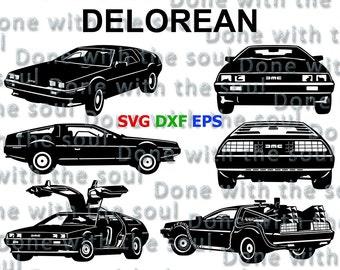 Delorean - Time machine - Back to the future - Car vector - Car film - Car cutting - Back to the future car - Car svg - Delorean digital