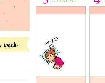 Deedee Sleeping Planner Stickers Perfect for Erin Condren, Kikki K, Filofax and all other Planners