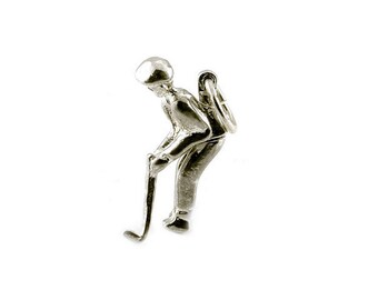 Sterling Silver Movable Golfer Charm For Bracelets