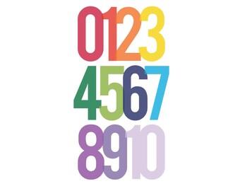Modern Numbers print #2 | Rainbow | 8x10 | 16x20 | digital download | printable