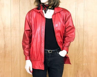 Vintage Leather Jacket Cocoon Coat Red 80s Batwing Dolman Sleeve ~ Small