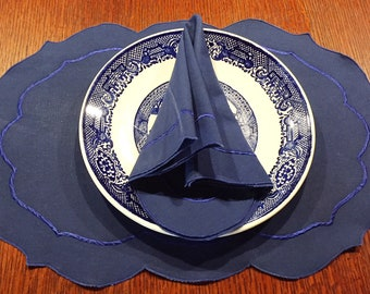 Vintage blue scalloped linen placemats and napkins