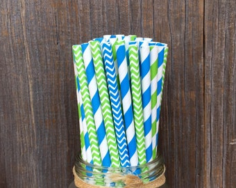 100 Lime Green and Blue Stripe and Chevron Paper Straws - Birthday, Baby Shower Supply, Free Shipping!