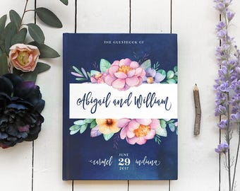 Navy Floral Wedding Guest Book, Wedding Guestbook, Garden Wedding Custom Guest Book, Personalized Guestbook, 8 x 10