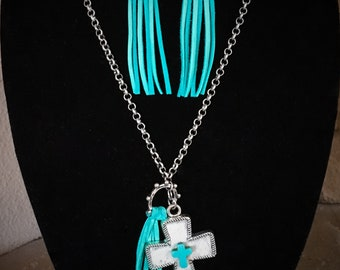 Leather cross necklace/earring set