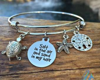 Beach Charm Bracelet - Salt in the air and sand in my hair - Ocean Theme Bangle - Nautical Jewelry - Stainless Steel Wire
