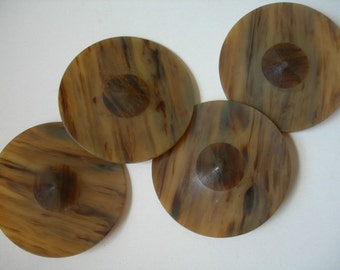 4 Art Deco Huge,Large Real Polished Horn Buttons 2 1/2 inch across,Vintage,Antique