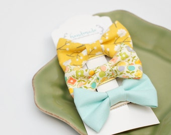 """Spring Assorted Small Hair Bows Set (set of 3) - 2 1/2"""" cute bow -  Baby hair bows - Toddler hairbows - Cute small hair bows, Easter"""