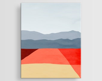 Abstract Landscape Canvas Art, Large Abstract Canvas Wall Art, Mid Century Art, Modern Wall Art, Abstract Art Canvas, Red Abstract Wall Art