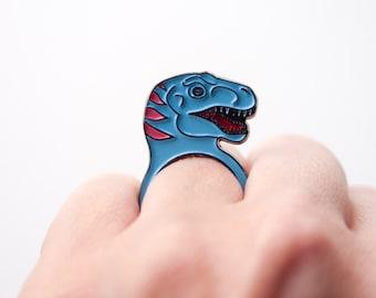 T-Rex dinosaur ring in soft enamel ring. designosaur tyrannosaurus rex ring.