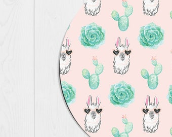 Llama Mouse Pad Cactus Mousepad Office Supplies Succulent Mousepad Llama Mousepad Llama Gifts Desk Accessories Office Decor Pink Mint Green