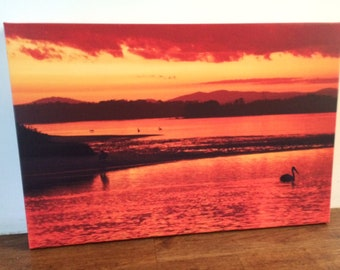 Lake Sunset,  Original photograph Canvas wall art Print