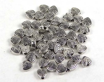 30 Antique Silver Pewter Heart 6mm Beads (P155)