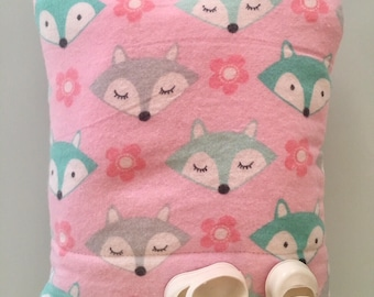 Baby Doll Bunting Baby Bag Pillow Blanket in One for Dolls Original Design Foxes
