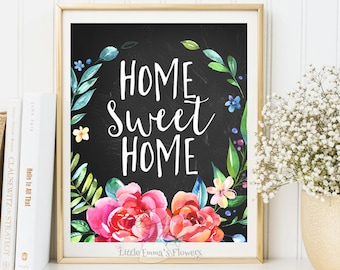 Calligraphy quotes Home sweet home print Entrance wall art welcome print decor art home printable art calligraphy quote watercolor ID3-45