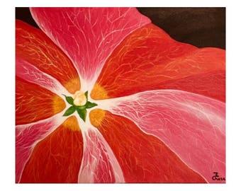 Acrylic Painting, Original, Hollyhock, Flower Paintings, Hollyhock Painting, Pink Painting
