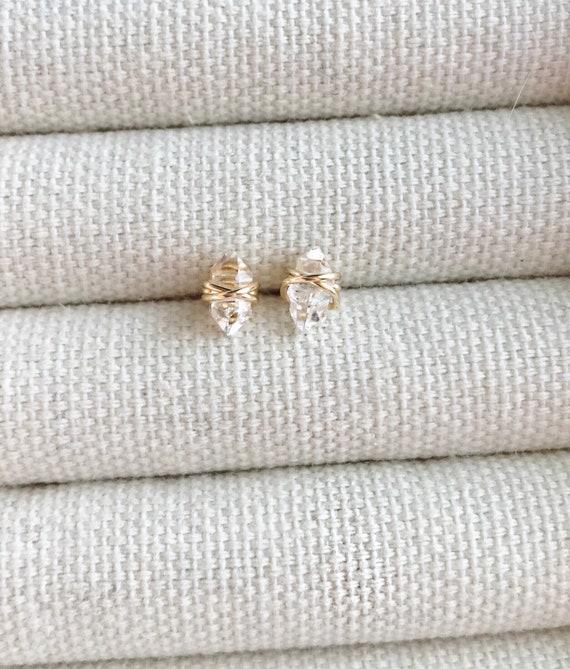 Herkimer Diamond Stud Earrings // Minimalist Earrings // Gemstone Earrings //Southern Wire // Herkimer Diamond Jewelry by Etsy