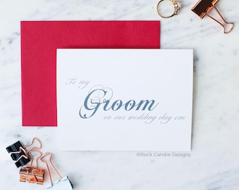 To My Groom On Our Wedding Day Eve Card | Sweet Card To Give To Your Soon To Be Husband The Night Before Your Wedding | Stationery For Groom