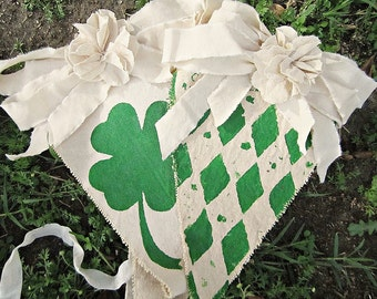 St. Patrick's Day Banner Garland, St. Patrick's Day Decor, Vintage St. Patrick's Day, Shabby Chic St. Patrick's Day Decor, Irish Banner