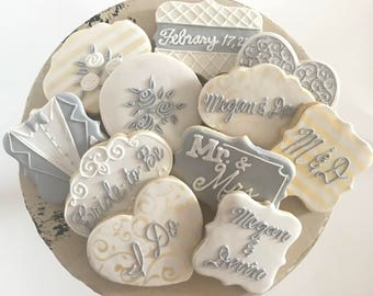 Premium Bridal Shower or Wedding Decorated Cookies