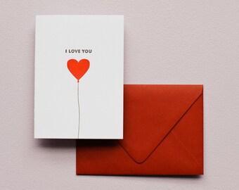 I Love You Balloon  - Letterpress