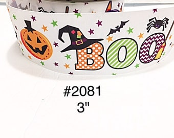 "2/3/5 yard - 3"" Halloween Boo with Pumpkin, Spider, Bat and Star  Jumbo White Grosgrain Ribbon"