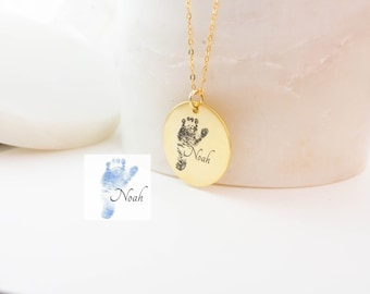 Fingerprint Necklace • Personalized Handprint Fingerprint Necklace • Baby Footprints Necklaces • Meaningful Mother's Day Gifts NM20