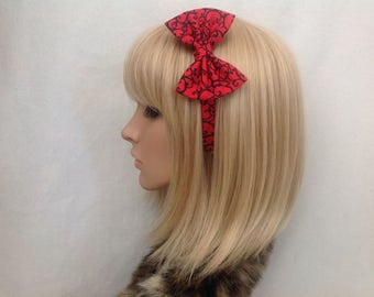 Red and black print fabric headband hair bow rockabilly psychobilly pin up girl gothic Victorian vintage retro Edwardian kawaii accessories
