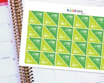 Planner Stickers Erin Condren Life Planner (ECLP) - 48 Corner Pay Day Stickers (#2000)