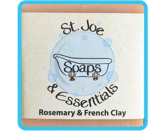 Rosemary & French Clay Soap, Handmade Soap, All Natural Soap, Organic Saponified Olive Oil, Coconut Oil, Shea Butter, Fragrance Oil