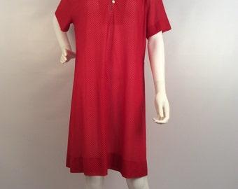 Vintage red polka dot dress, sheer red polka dot dress.