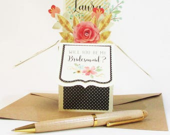 Will You Be My Bridesmaid Pop Up Card, Maid of Honor, Personalized, Flower Girl, Attendant, Bridesmaid Proposal, Best Seller, Invite