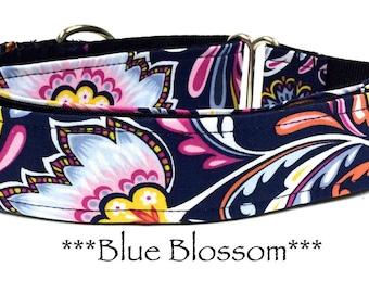 Martingale Dog Collar, Blue Floral Dog Collar, Blue Dog Collar, Buckle Martingale Dog Collar, Floral, Vintage, Blue, Girl, Blue Blossom