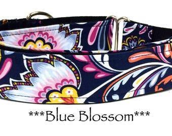 Martingale Dog Collar, Blue Floral Dog Collar, Blue Dog Collar, Buckle Martingale Dog Collar, 2 inch Martingale, Blue Blossom