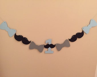 Little Man 1st Birthday Highchair Banner - first birthday banner - Bowtie banner - mustache banner