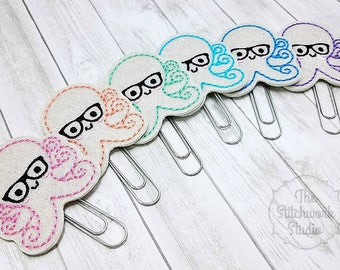 Ready To Ship! Octopus Planner Clip - Geeky Octopus - Paperclip - Bookmark - Glitter