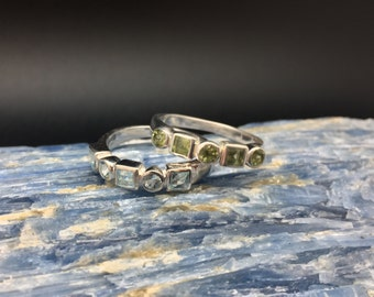 Blue Topaz and Peridot Stack Rings // 925 Sterling Silver // Geometric Setting