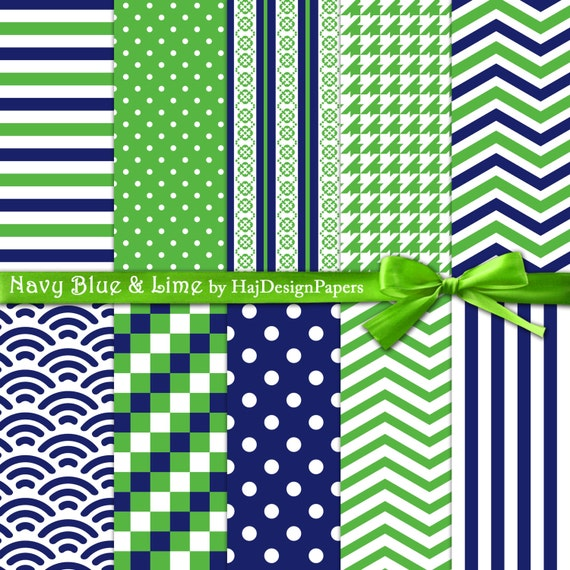 Blue And Green Digital Paper Navy Blue And Lime Digital