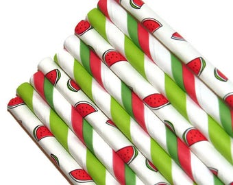 Watermelon straws set, summer party decorations, 10CT, fruit straws, fruity, watermelons, melons, bbq, birthday