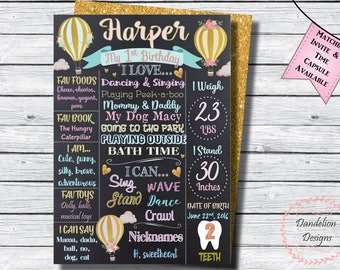 Hot Air Balloon Chalkboard, Up and away Poster, The Places You'll Go, Hot Air Balloon 1st birthday, Hot Air Balloon birthday poster, gold