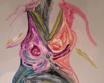 Nude in Pink- Etching and Monoprint on Paper, Contemporary Art, original Art, wall art, Ann Forget 399.00