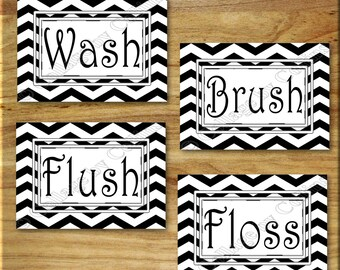 Black and White Chevron Print Wall Art Pictures Photos Bathroom Quotes Words Floss Flush Wash Brush Zigzag UNFRAMED Decor MODERN  en Suite