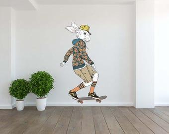 Removable Vinyl Wall Decal Wall Sticker Bunny Boy Riding on a Skateboard