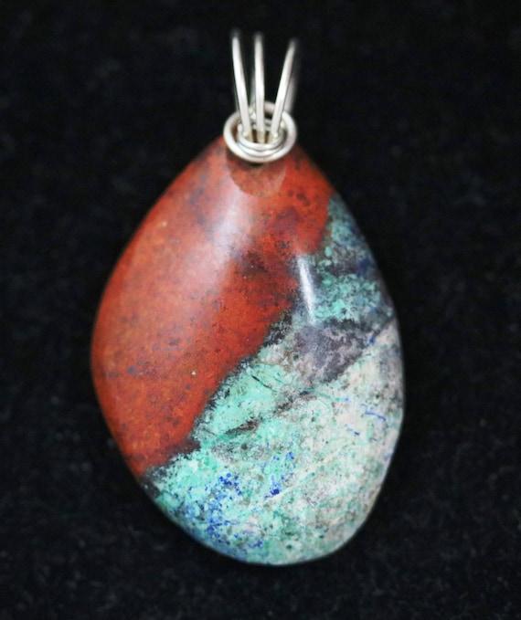 """Sonoran Sunrise pendant, red aqua black white, """"Black Stripe"""", silver twirl bail 78ct"""