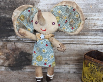 Primitive cloth doll, Betty the elephant