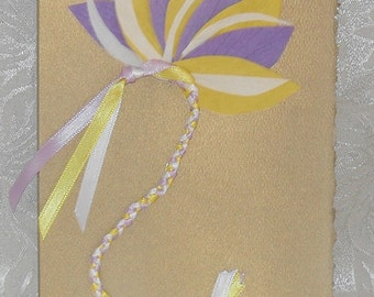 Original Handmade Yellow Purple Fan Art Card