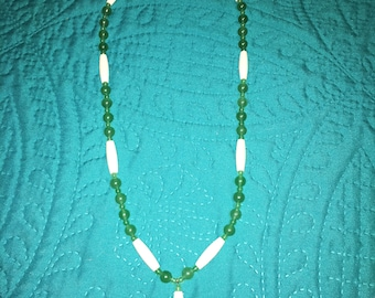 Aventurine and Buffalo Horn Hairpipe Necklace