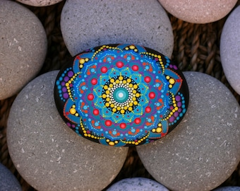 3.2x2.6 inch Hand painted mandala on river rock/mandala stone by Katy