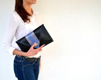 Black leather clutch / Black handbag with genuine blue snakeskin / Handmade leather bag / Snake clutch
